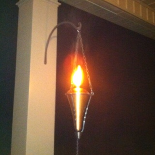 Wall Mounted Citronella Lamps : Citronella lanterns-easy to make Materials: Metal Tiki torches from lowes Chain and hook Wrought ...