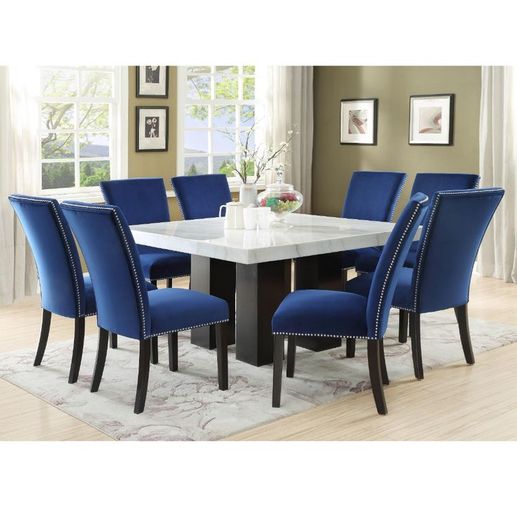Camila 9 Piece Dining Set with Marble Table Top by Steve Silver