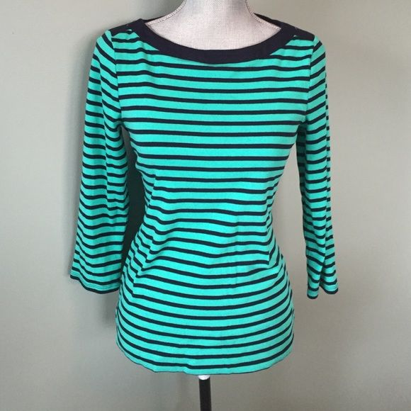NWOT Talbots tee 3/4 length sleeves. Beautiful brand new tee. Navy blue and green blue strips Talbots Tops Tees - Long Sleeve