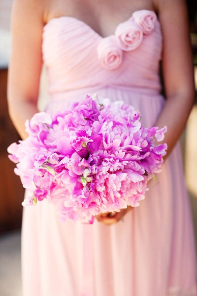 pink dress with purple flowers. stunning combo
