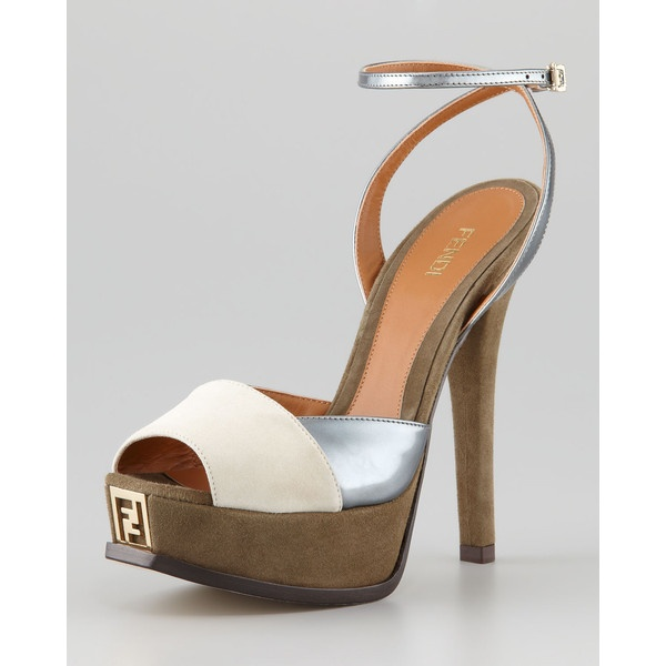 Fendista Colorblock Ankle-Wrap Sandal ($785) via Polyvore
