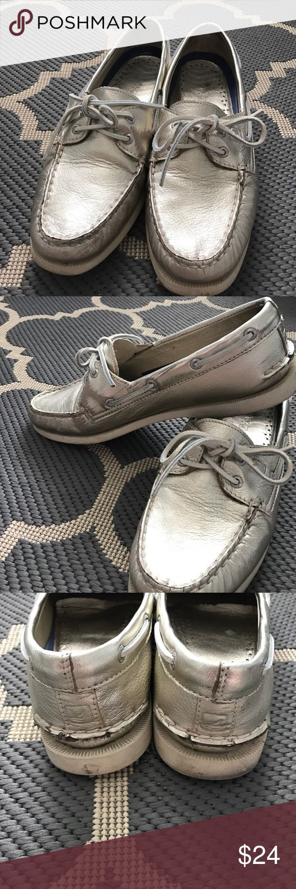 Gold Sperry Top Sider Shoes Gold Sperry Top Sider Shoes. Women's size 9.5. Well worn but have plenty of wear left. Price reflects this. Beautiful piece works well with many outfits. Sperry Top-Sider Shoes