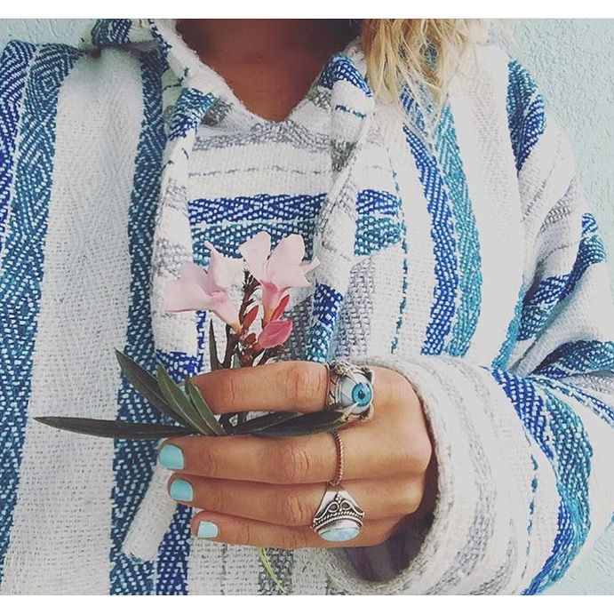The white/blue/gray baja hoodie at Mexican Threads™