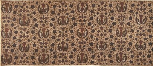 This long batik cloth made with cotton material. It has the airplane, floral and geometric motifs. Used as a ceremonial cloth of the Surakarta Palace (Kasu...