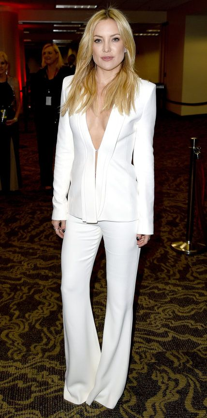 Kate Hudson in a custom white Brandon Maxwell suit separates and nothing else.