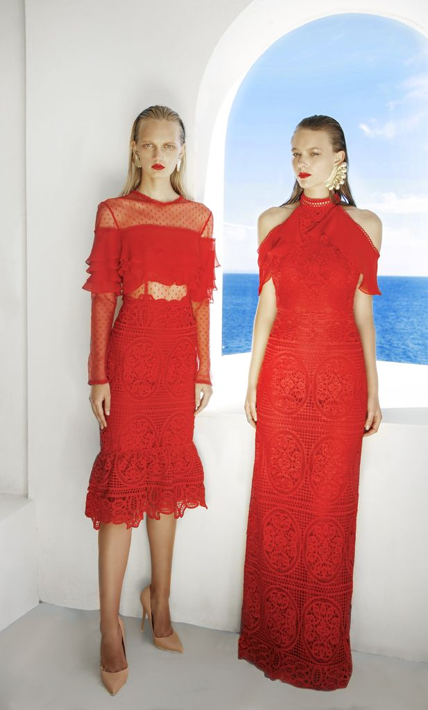 SS 1713 Geometrical Guipure Lace Illusion Dress, Red SS 1714 Geometrical Guipure Lace Halter Neck Dress, Red