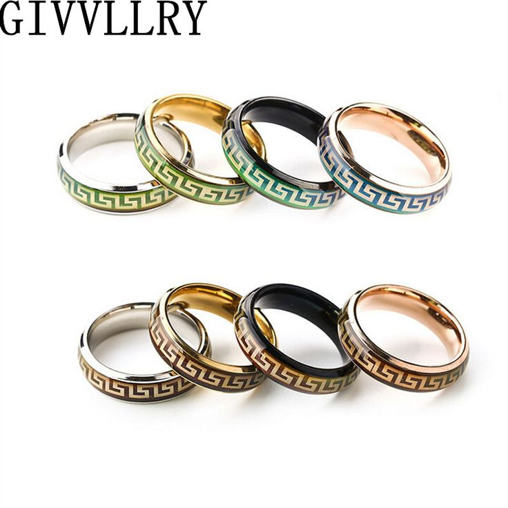 Changing Color Titanium Mood Rings Temperature Emotion Feeling Engagement Rings Women Men 2016 Promise Rings For Couples Jewelry