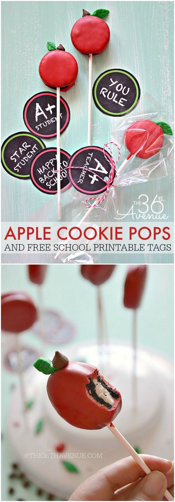 Back to School - Apple Oreo Pops Recipe and Free Printables at the36thavenue.com. Cute idea for an apple themed party. Or fall desserts table.