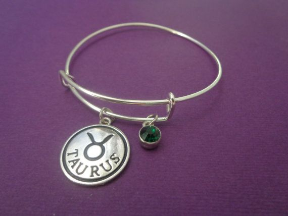 Bracelet~Zodiac Jewerly,Taurus gifts,May Emerald Green birthstone,Birthday gifts,Astrology Jewelry,Birthstone Bracelet,Alex and Ani Inspired