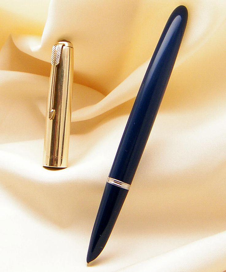 Vintage Parker 51 Fountain Pen Gold filled Cap & Blue Body