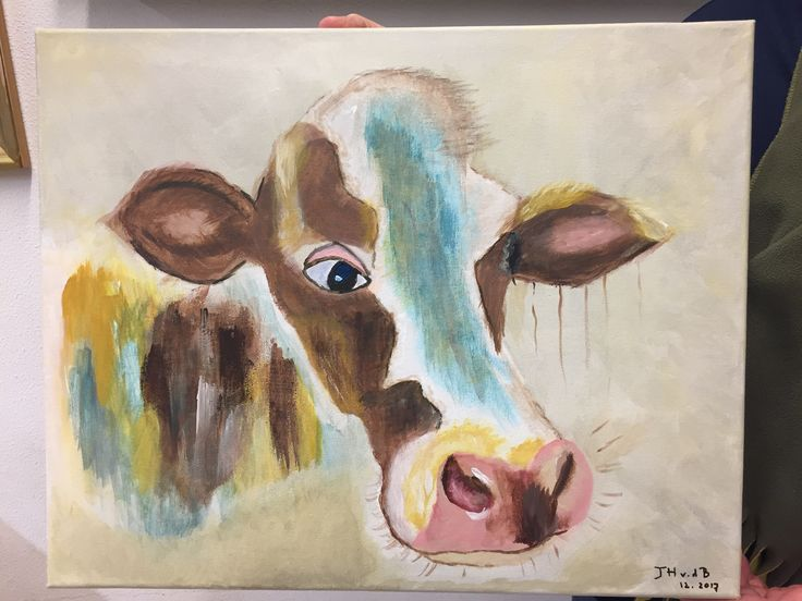 Eén van mijn cursisten heeft Koe zegt boe geschilderd bij Irene's Atelier.
