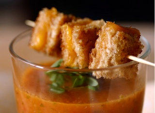 Grilled cheese over soup for an appetizer? I feel like the party gods are shinin' on me today.