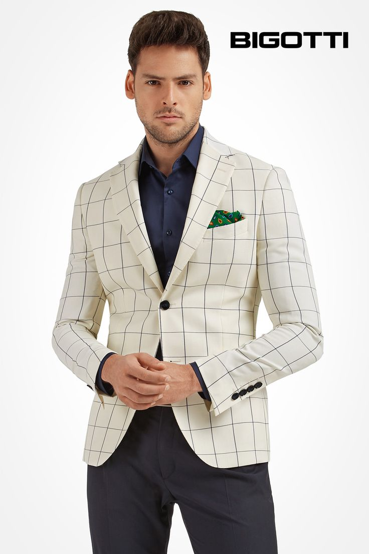 The #butter #white & #navy #check #blazer - a #truly #remarkable #choice for the #special #events of this #season www.bigotti.ro