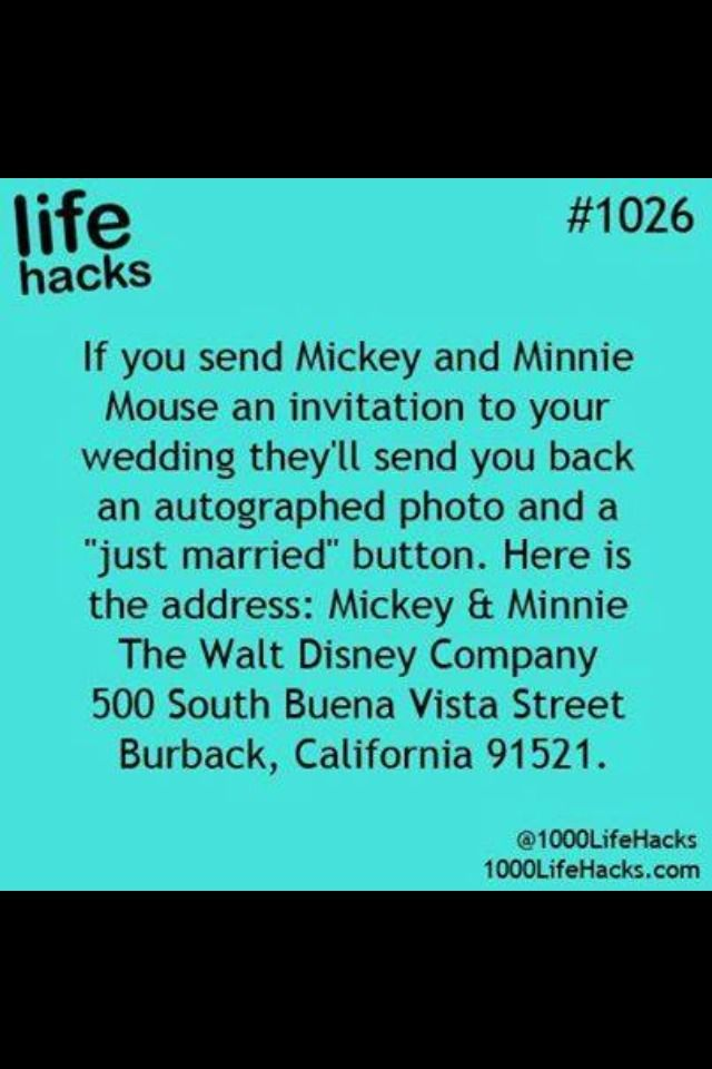 ❤️Send Your Wedding Invitation To Mickey And Minnie Mouse And They Will Send You An Autograph!❤️