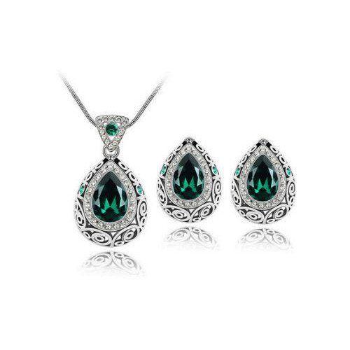 Vintage Style Emerald Green Genuine Australian Crystal Necklace & Earr – UCHARMME.co.nz