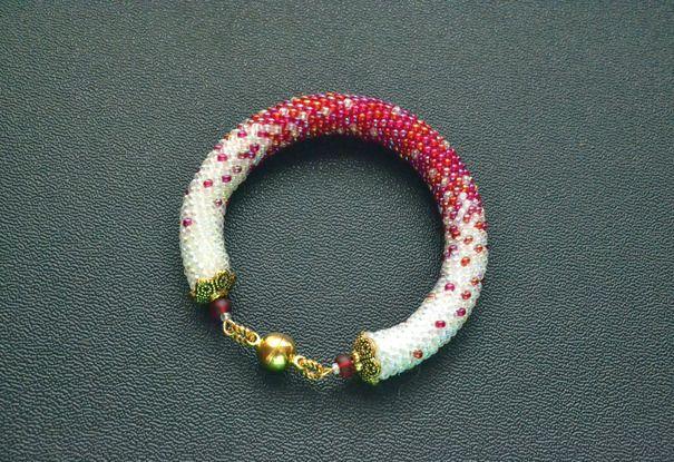 Ручная работа Парные браслеты Морозная Клюква, комплект браслеты из бисера