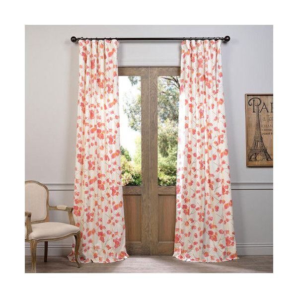 Half Price Drapes Dogwood Rose 120 X 50-Inch Printed