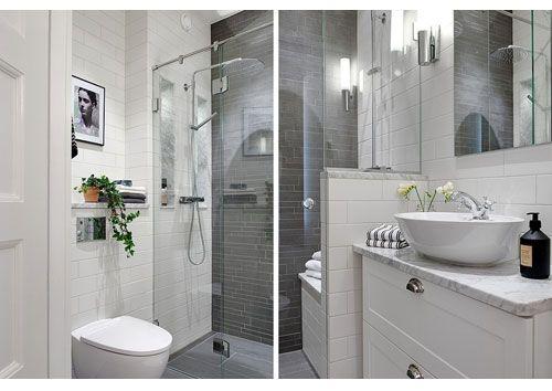 Fint badrum med marmorskiva