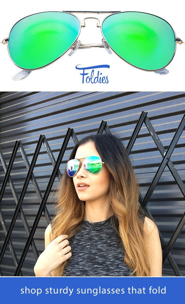 510f10d6f Foldable Gold and Green Aviator Sunglasses by Foldies. Comes with a 2 Year  Warranty. Shop styles including gold frame sunglasses, polarized mirror  lenses, ...