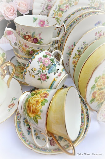 For an authentic afternoon-tea feeling and to do the cakes justice serve them on vintage china - it doesn't matter if they are all different