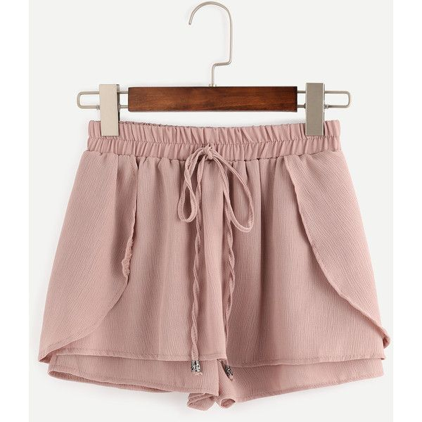 Pink Drawstring Waist Wrap Shorts ($25) ❤ liked on Polyvore featuring shorts, bottoms, loose shorts, summer shorts, patterned shorts, print shorts and wrap shorts