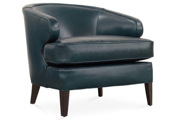 Best Quinn Barrel Chair Peacock Blue Leather Barrel Chair 400 x 300
