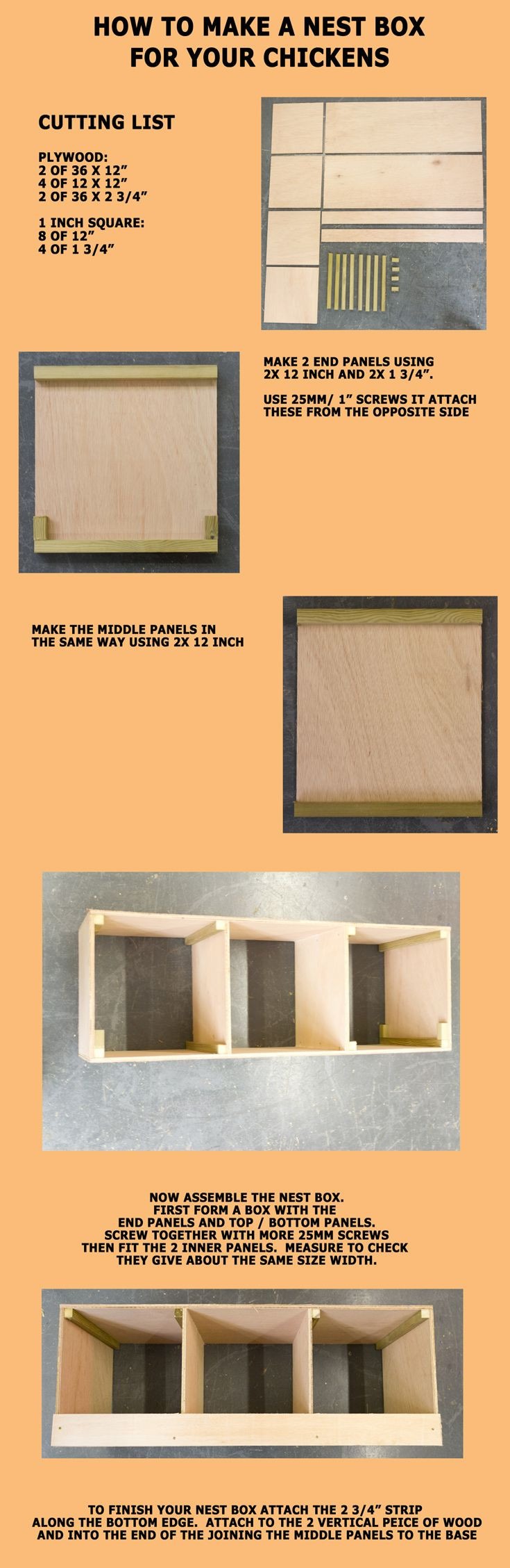 """Where we show you how to build a simple, plywood nest box for your chickens.   You'll need some 9mm plywood and some 12 square timber - 1"""" timber is normally  finished to around 20mm.  The top and bottom of the nest box are made from 36x12"""" peices of plywood. There are 4 vertical dividers made from 12x12"""" plywood. along the front of the nest box is a strip of ply, 36x2 3/4"""" to contain the bedding.  There is one of these front and rear. We suggest screwing it all together with 25mmx3.5…"""