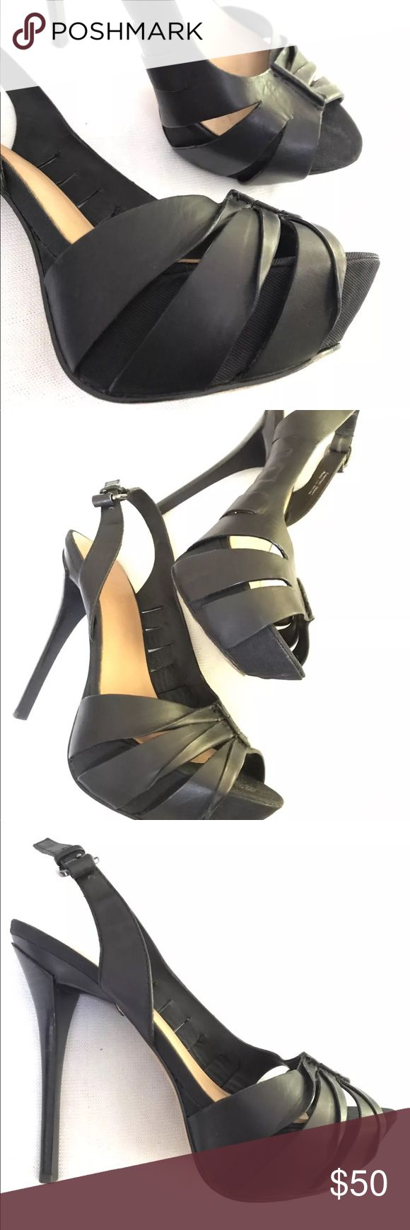 L.A.M.B.Gwen Stefan peep toe platform slingback Peep toe platform stiletto Slingbacks. Grograin fabric covered platform with leather. Great pre-owned condition. L.A.M.B. Shoes Platforms