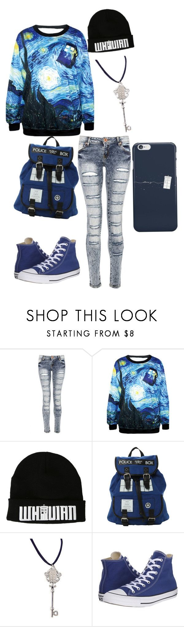 """Doctor Who"" by eeveeplier ❤ liked on Polyvore featuring Quiz and Converse"
