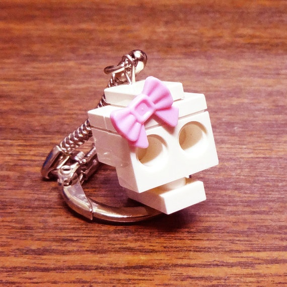 Mini LEGO Skull with Pink Bow Keychain by FoldedFancy on Etsy, $7.00