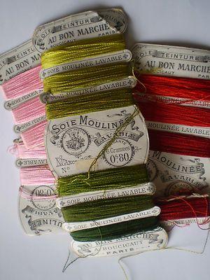Lot de cartes de soie moulinée anciennes AU BON MARCHE couture broderie...