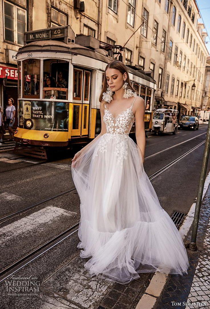 tom sebastian 2019 braut spaghettibügel diamant hals stark verschönert …   – At the Altar Fashion