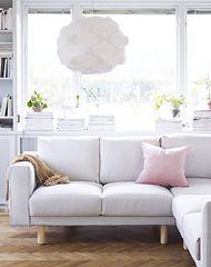 IKEA NORSBORG hörnsoffa i ljusgrått tyg