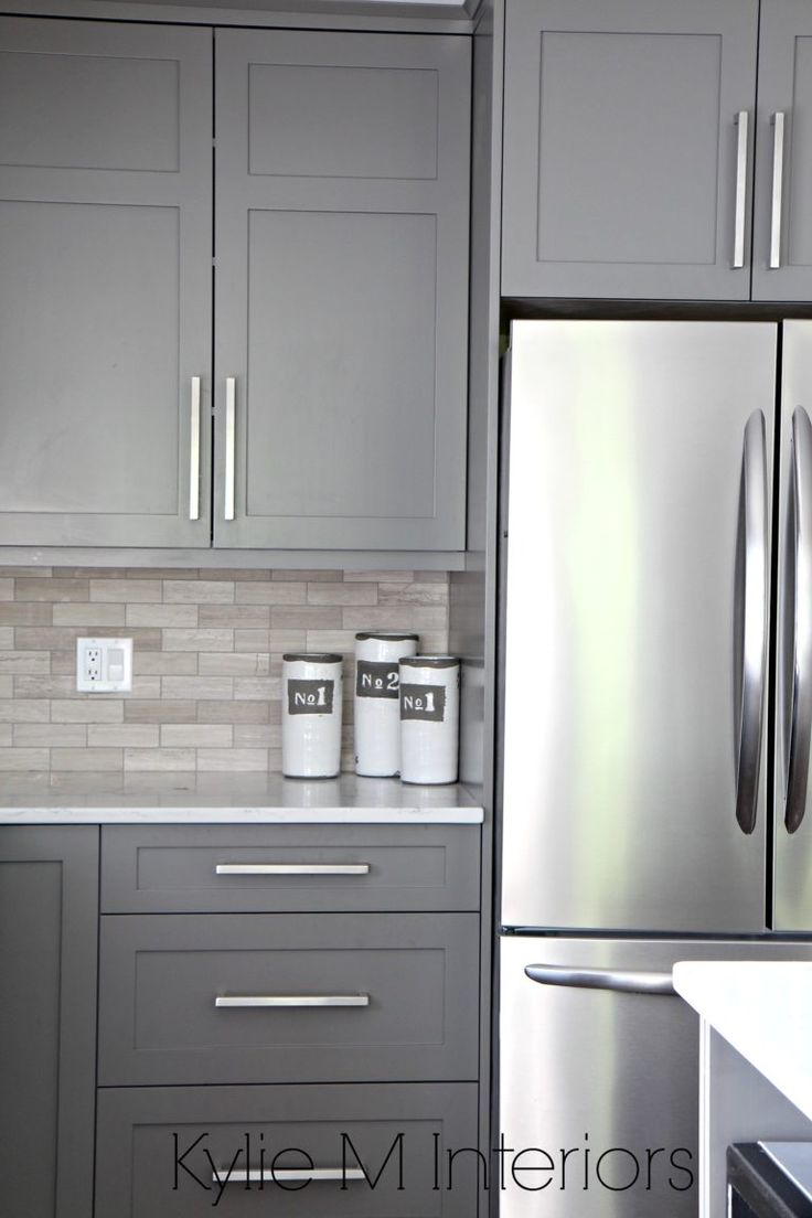 Kitchen Cabinets Painted Benjamin Moore Amherst Gray, Driftwood Marble  Backsplash With Stainless Steel. Design