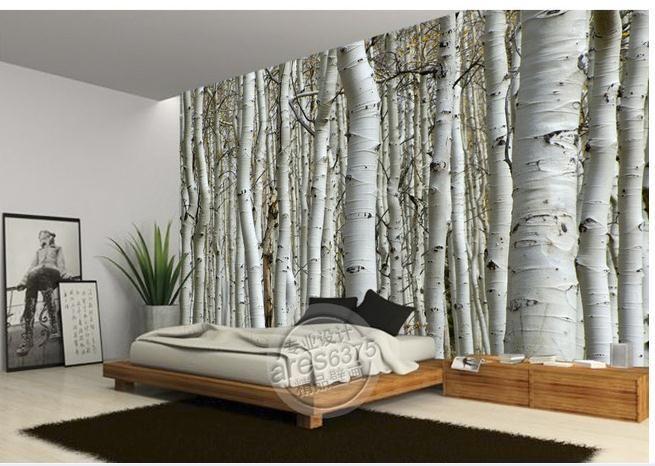 Behangpapier Slaapkamer 3d : White Birch Tree Wall Murals