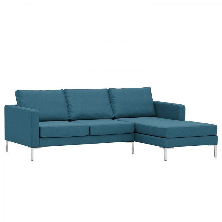Hoekbank Portobello - geweven stof - longchair vooraanzicht rechts - 207cm - Stof Ramira Turquoise