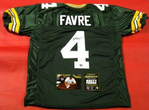 """$299.44 Autographed Brett Favre Authentic Style Custom Green Bay Packers Jersey. Brett even added """"4"""" for his jersey number. All Letters and Numbers are stitched on this size XL jersey and it's now ready to be displayed in your sports room! It comes with the Brett Favre (BF) Hologram certification card and photo of Brett signing the number 4! Brett Favre is one of the greatest quarterbacks in the history of the game. This is an absolute must for all football fans to have in their collection!"""