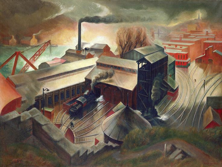 """""""Engine House and Bunkers,"""" Austin Mecklem, 1934, oil on canvas, 38 x 50 1/4"""", Smithsonian American Art Museum."""