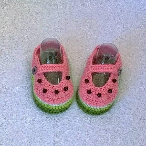 Baby Booties Watermelons crochet Crochet Baby от EcoCrochetArt