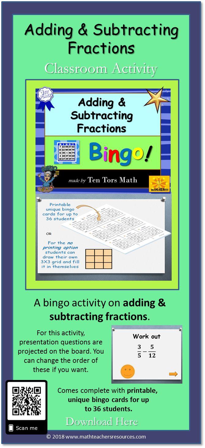 Adding Subtracting Fractions Bingo Game Activity Adding And Subtracting Fractions Subtracting Fractions Activities Subtracting Fractions Adding and subtracting fraction bingo
