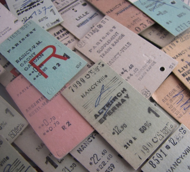 10 x Vintage French Train Tickets France for Altered Arts Mixed Media Collage Destash. $6.00, via Etsy.