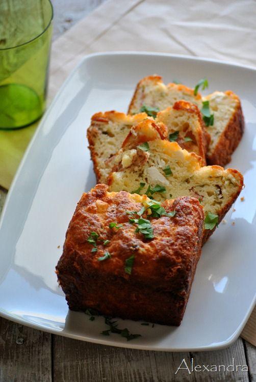 Savory cake with feta and salami