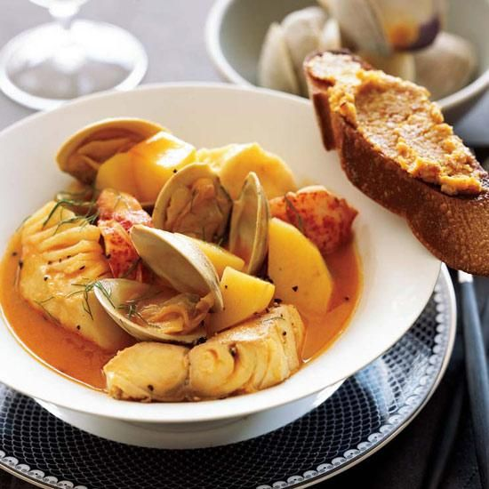 "Bouillabaisse | This classic Provençal recipe calls for clams, lobster and fish in a broth delicately flavored with fennel and pastis, a licorice-flavored aperitif, but you can trim the cost of ingredients by making smart substitutions. ""There are no real rules to this dish, except to use what's fresh,"" chef Ethan Stowell says. Make or buy a good fish stock and add different seafood at different times, so nothing is under- or overcooked (shellfish go in first; fish go in last). The rouille…"
