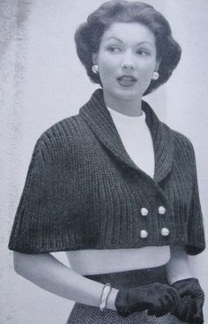 Knitting pattern for 1950s Lovely Cape Stole Wrap Vintage Knitting Pattern for Classy Shawl Collar Front Button Capelet