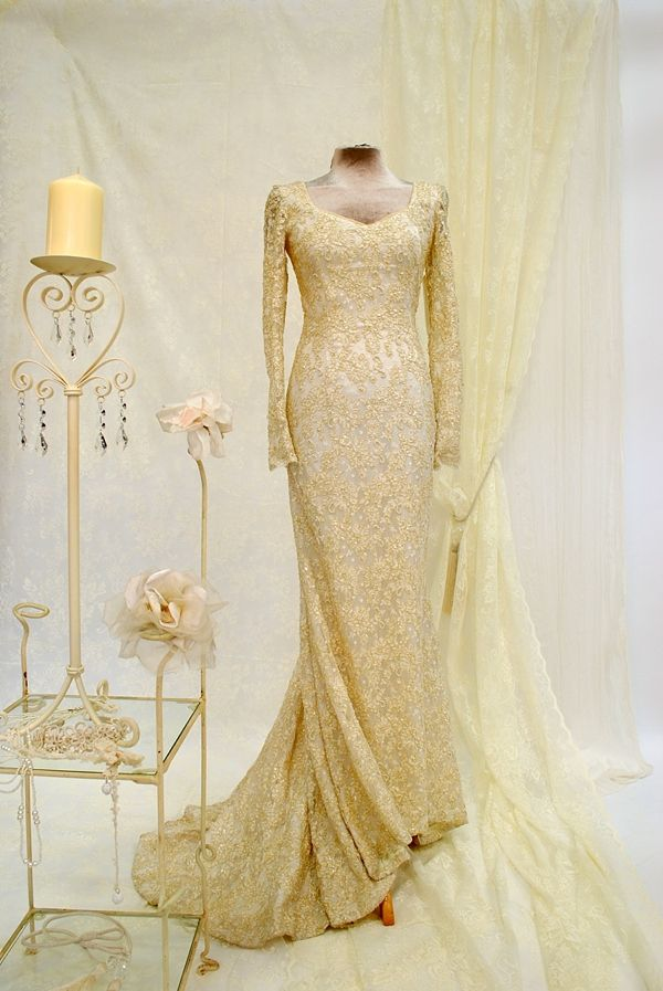 Gold wedding dress with sleeves. The Joyce Young Couture/Vintage Inspired Designer Dress Sale http://www.joyceyoungoutlet.co.uk/