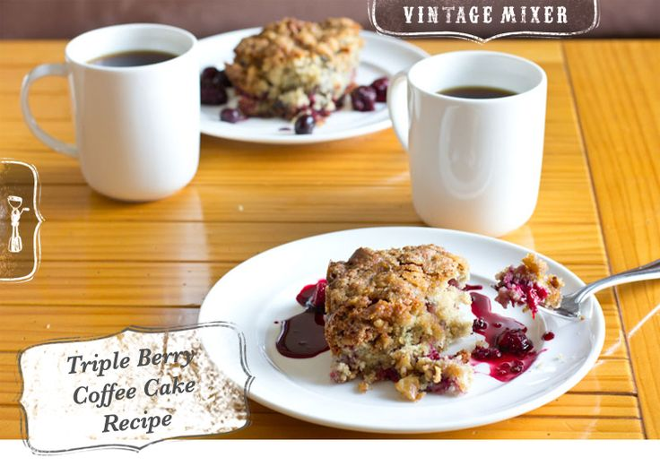 A great idea for Christmas morning breakfast - Triple Berry Coffee Cake Recipe • www.thevintagemixer.com #recipe #breakfast
