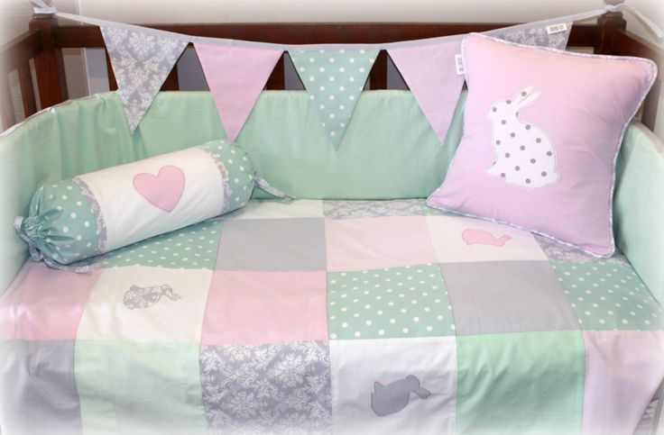 Bunnies Cot Linen in grey, pink, white & mint Designed by Tula-tu Baby Linen