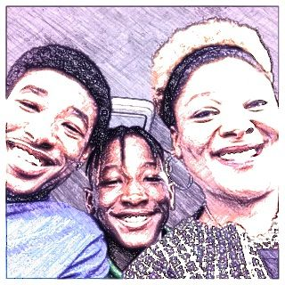 My brother on the left and my mom on the right and me in the middle