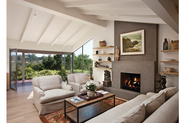 Mid-Century Modern rebuilt & updated after the home was lost in the Santa Barbara fires. Stack-back glass doors open the Living Room to the Veranda...