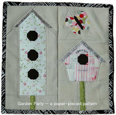 Garden Party free PDF pattern: Applique Quilts, Quilts Blocks, Free Pdf, Birds House, Free Patterns, Gardens Parties, Paper Pieces Patterns, Pdf Patterns, Monkey Beans